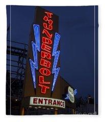 Thunderbolt Rollercoaster Neon Sign Fleece Blanket