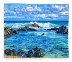 Tide Pool Near Hana Maui Fleece Blanket