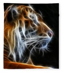 Tiger Fractal 2 Fleece Blanket
