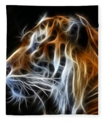 Tiger Fractal Fleece Blanket
