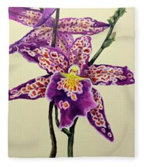 Tiger Orchid Fleece Blanket