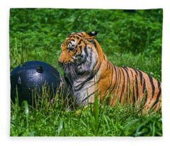 Tiger Playing With Ball Fleece Blanket