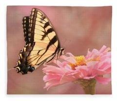 Tiger Swallowtail In The Pink Fleece Blanket