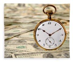 Time Is Over Money Fleece Blanket