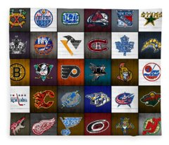 Time To Lace Up The Skates Recycled Vintage Hockey League Team Logos License Plate Art Fleece Blanket