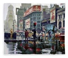Times Square 1943 Reloaded Fleece Blanket