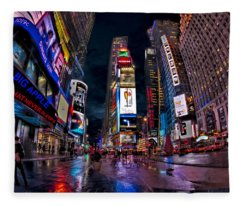 Times Square New York City The City That Never Sleeps Fleece Blanket