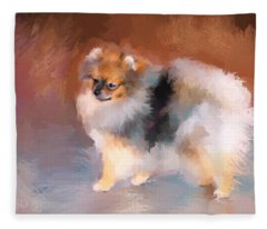 Tiny Pomeranian Fleece Blanket