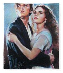 Titanic Jack And Rose Fleece Blanket