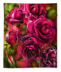 Fleece Blanket featuring the mixed media To Be Loved - Red Rose by Carol Cavalaris