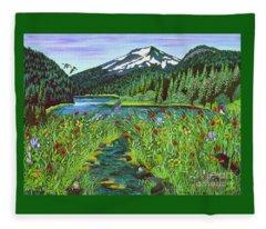 Todd Lake Mt. Bachelor Fleece Blanket