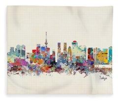Tokyo Skyine Fleece Blanket