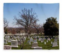 Tombstones In A Cemetery, Arlington Fleece Blanket
