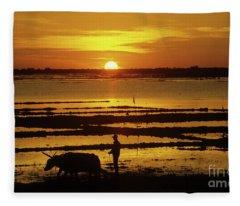 Tonle Sap Sunrise 01 Fleece Blanket