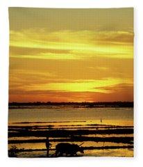 Tonle Sap Sunrise 02 Fleece Blanket