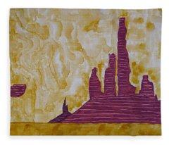 Totem Pole Monument Original Painting Fleece Blanket