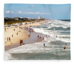 Tourist At Kure Beach Fleece Blanket