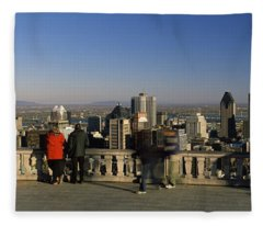 Tourists At An Observation Point Fleece Blanket