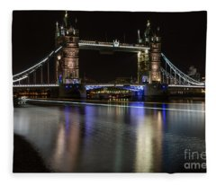 Tower Bridge With Boat Trails Fleece Blanket