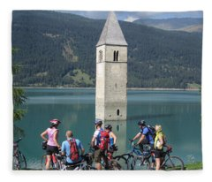 Tower In The Lake Fleece Blanket