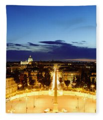Town Square With St. Peters Basilica Fleece Blanket