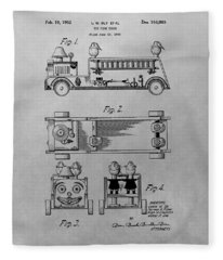 Toy Fire Engine Patent Drawing Fleece Blanket