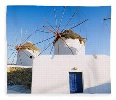 Traditional Windmill In A Village Fleece Blanket