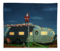 Trailer House Christmas Fleece Blanket