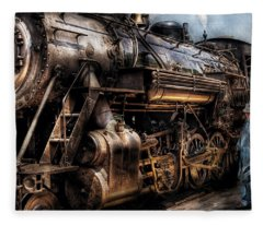 Train - Engine -  Now Boarding Fleece Blanket