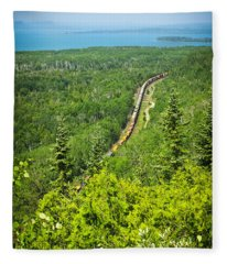 Train In Northern Ontario Fleece Blanket