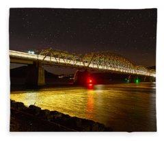 Train Lights In The Night Fleece Blanket