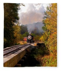 Train Through The Valley Fleece Blanket