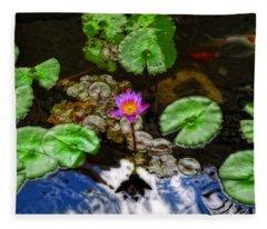 Tranquility - Lotus Flower Koi Pond By Sharon Cummings Fleece Blanket