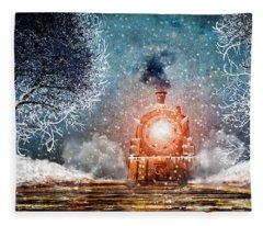 Traveling On Winters Night Fleece Blanket