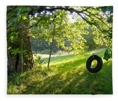 Tree And Tire Swing In Summer Fleece Blanket