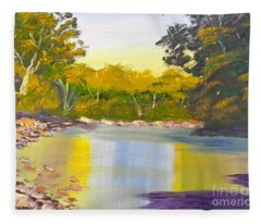 Tree Lined River Fleece Blanket