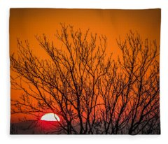 Tree Silhouetted By Irish Sunrise Fleece Blanket