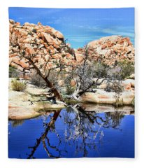 Trees In The Barker Dam Fleece Blanket