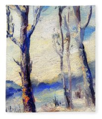 Trees In Winter Fleece Blanket