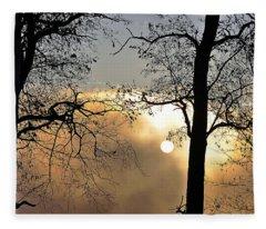 Trees On Misty Morning Fleece Blanket