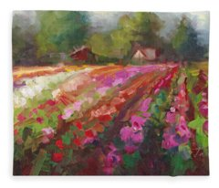 Trespassing Dahlia Field Landscape Fleece Blanket