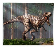 Trex In The Forest Fleece Blanket