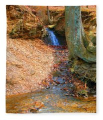 Trickling Waterfall By Shellhammer Fleece Blanket