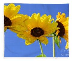 Trio In The Sun - Yellow Daisies By Diana Sainz Fleece Blanket