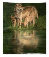 Trio Of Wolves Fleece Blanket