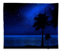 Tropical Beach Wall Mural Fleece Blanket