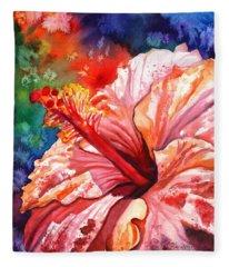 Tropical Pink Hibiscus Fleece Blanket