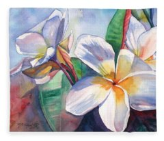 Tropical Plumeria Flowers Fleece Blanket