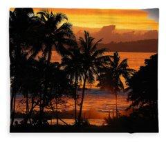 Tropical Sunset In Blues Fleece Blanket