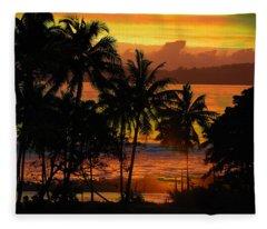 Tropical Sunset In Greens Fleece Blanket